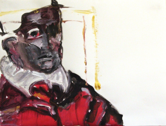 Drawing No. 17 Study on 'Pope Innocent X'  acryl ink on paper 50 x 65 cm 2012