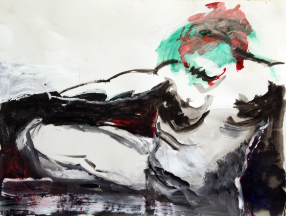 Drawing No. 21  Study on 'Leda and the Swan'  mixed media on paper 50 x 65 cm 2012