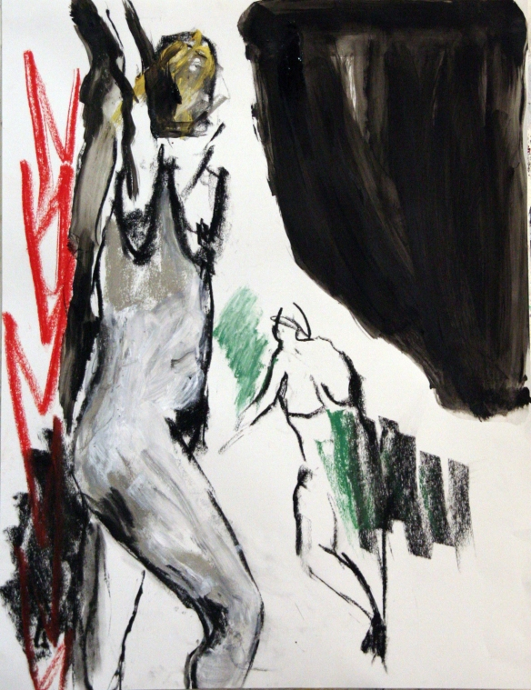 Drawing No. 27 Study on 'Bathers' by Cezanne mixed media on paper 65 x 50 cm 2012