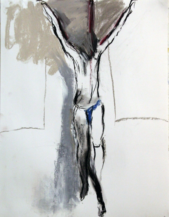 Drawing No. 46 Study on 'Crusifixion'  charcoal, crayon, acryl on paper 50x65 cm 2013  - kopie
