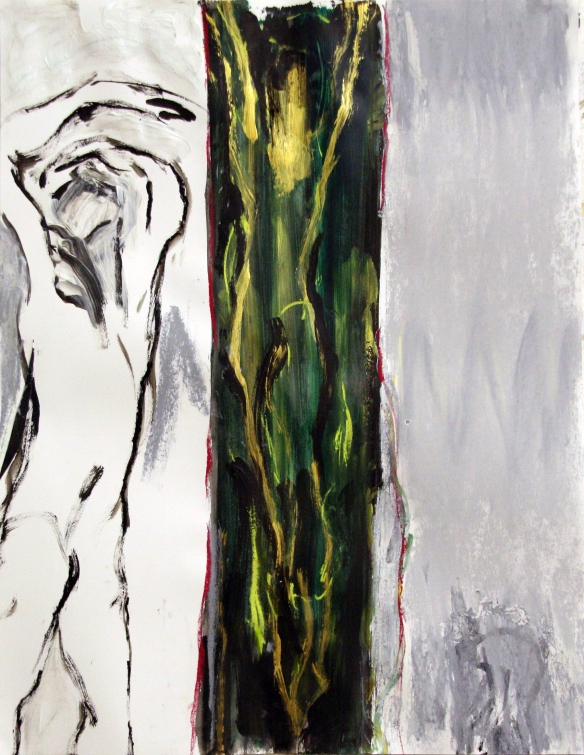 Drawing No. 59 Study on 'Lamentation'  by El Greco ink, acryl, crayon on paper 65 x 50 cm 2013