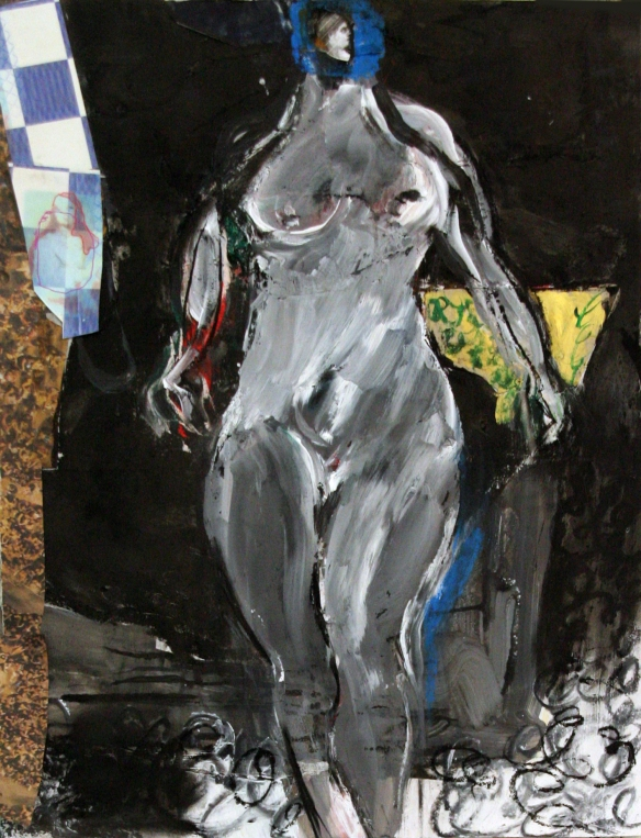 Drawing No. 69 on 'The judgement of Paris' by Rubens charcoal, acryl, softcrayon, scrap on paper 2013