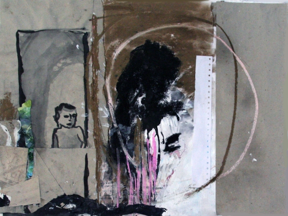 Drawing no. 70 on Recherches by Luc Tuymans o. i. ink, acryl, softpastel, charcoal, scrap on paper 65 x 50 cm 2013