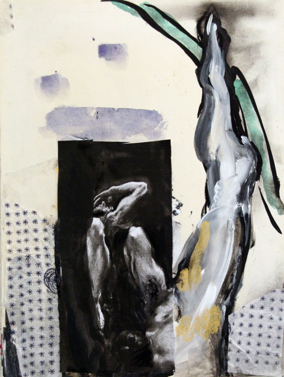 Drawing No. 71  Study on El Greco  o. i. ink, acryl, charcoal, scrap on paper 30 x 40 cm 2013
