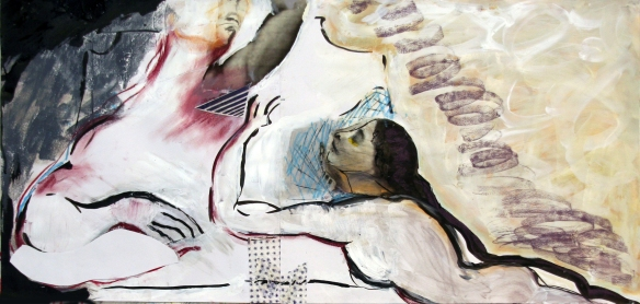 Drawing No. 72 Study on Eros and Thanatos o.i.ink, softcrayon, acryl, charcoal, scrap on paper 105 x 50 cm 2013