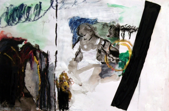 Drawing No. 82 on Spritual Exercise charcoal, o.i.ink, acryl, crayon, scrap on paper 50 x 73 cm 2013
