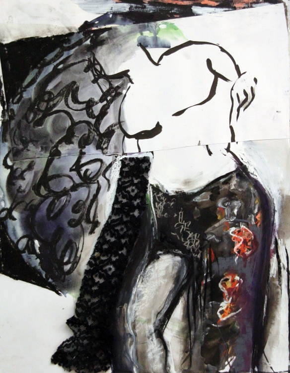 Drawing No. 87 Rape of Lucretia by Titian o.i.ink, gouache, lace, crayon on paper 50 x 65 cm 2014