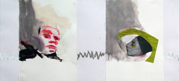 Drawing No. 92 on Dimissioni Tradotto mixed media on paper 50 x 110 cm 2014