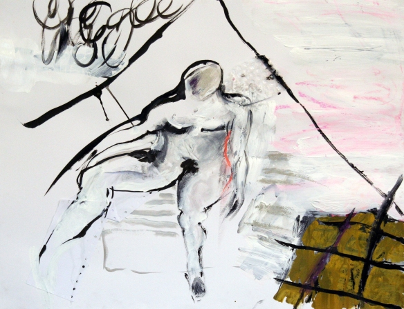 Drawing No. 94 on The Eternal Woman by Cezanne o.i.ink, crayon, acryl, scrap, emaille paint on paper 50 x 65 cm 2014