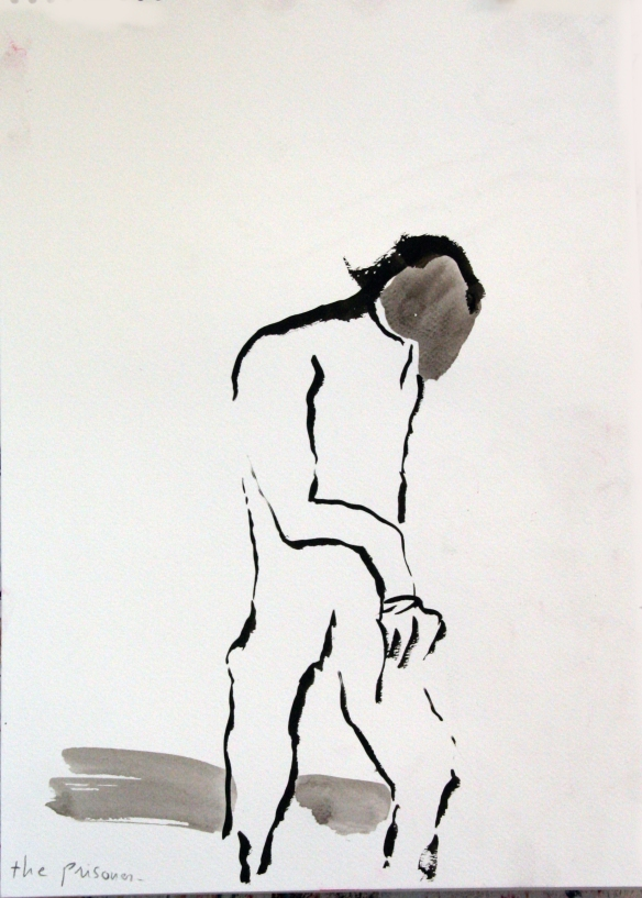 Drawing No. 95 on The Prisoner by Goya  o.i.ink on aquarel paper 30 x 48 cm 2014