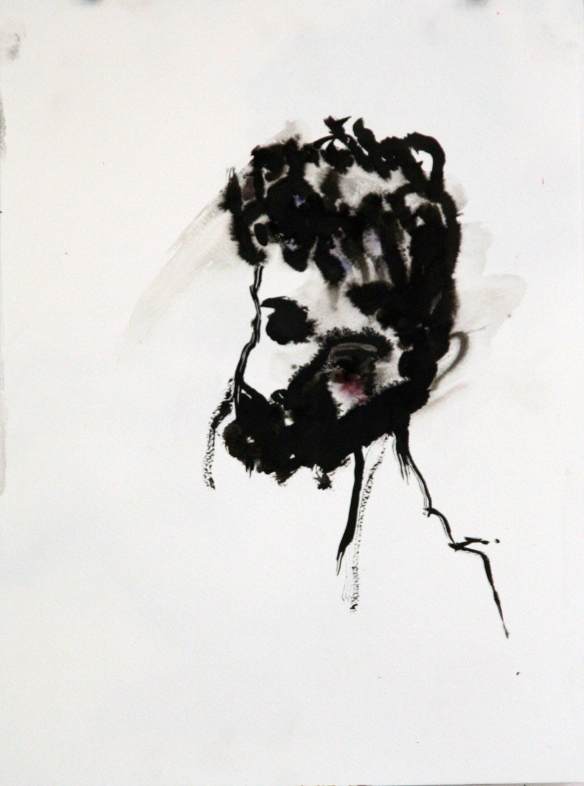 Drawing No. 97 Vagrant by Goya o.i.ink on quarrel paper 30 x 48 cm 2014