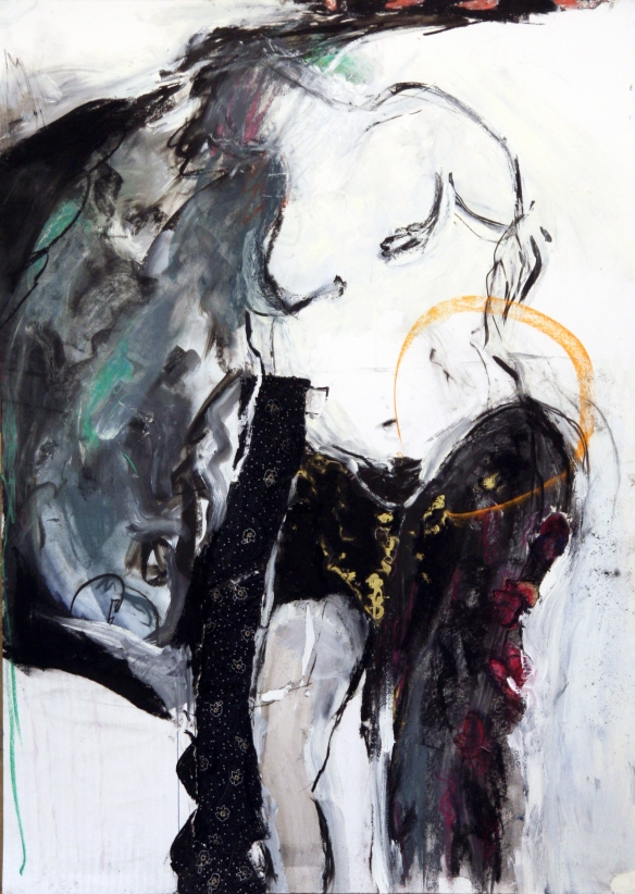 on 'Rape Of Lucretia'  mixed media on 400 grams paper 100 x 140 cm 2014