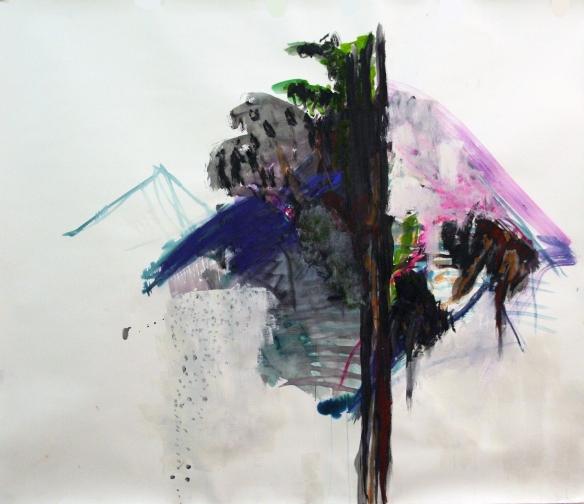 No. 3  Murmurs & Babbles (Landscape) pastel, ink, gouache, paint on 400 gr. fabriano paper 127 x 150 cm 2015