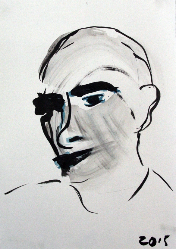 ©)Riedstra Project Refugees No. 3  gouache, o.i.ink on paper 42 x 30 cm 2015